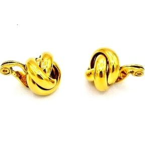 Vintage Monet Gold Plated Knot Clip-on Earrings